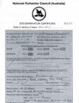 NRCA Eye Certificate